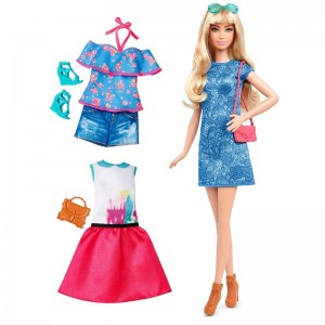 Barbie Fashionistas - Lalka z ubrankami Lacey Blue, Tall Blonde DTF06