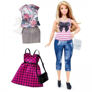 Barbie Fashionistas - Lalka z ubrankami Everyday Chic, Curvy Blonde DTF00